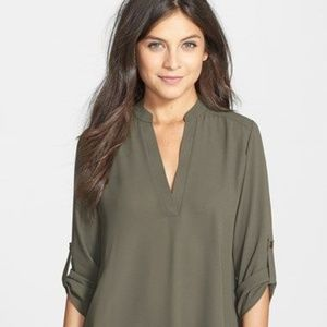Lush Olive Roll Tab Sleeve Shirt